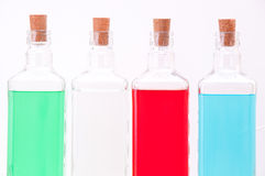 Tre bottiglie di vetro Fotografie Stock