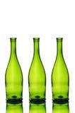 Tre bottiglie di vino verdi fotografia stock libera da diritti