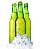 Tre bottiglie verdi di birra con ghiaccio isolato Immagine Stock