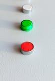 Tre bottoni industriali in una fila immagini stock libere da diritti