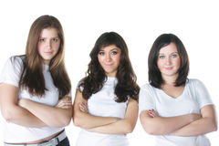 Tre braccia delle donne hanno piegato Fotografia Stock Libera da Diritti