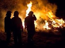 Tre brandmän Arkivbilder