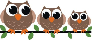 Tre bruna owls royaltyfri illustrationer