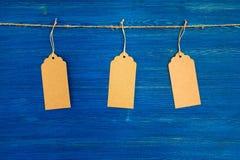 Tre bruna prislappar för tomt papper eller etikettuppsättning som hänger på ett rep på den blåa bakgrunden Royaltyfria Foton