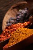 Tre bunkar av kryddor över träbakgrund. royaltyfria foton