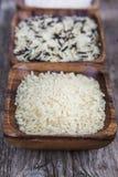 Tre bunkar med olika variationer av ris Royaltyfria Foton