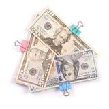 Tre buntar av pengar hundra femtio och tjugo dollar royaltyfria foton