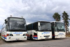 Tre bus parcheggiati Fotografie Stock Libere da Diritti