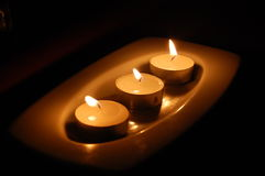 Tre candele Fotografie Stock Libere da Diritti