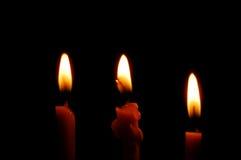 Tre candele burning fotografia stock libera da diritti