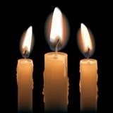 Tre candele di Lit Fotografia Stock