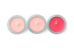 Tre candele rosa fotografia stock libera da diritti