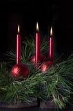 Tre candele rosse 2 Fotografia Stock