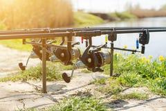 Tre canne da pesca Fotografia Stock Libera da Diritti