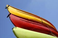 Tre canoe Fotografia Stock Libera da Diritti