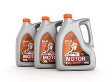 Tre cans av motorisk olja vektor illustrationer