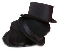 Tre cappelli neri Fotografie Stock