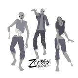 Tre caratteri dello zombie che camminano in avanti Fotografia Stock Libera da Diritti