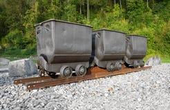 Tre carretti della miniera Fotografia Stock
