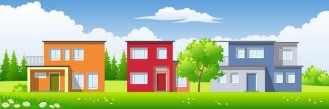 Tre case moderne Immagini Stock