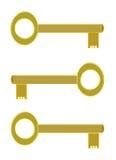 Tre chiavi dorate fotografia stock libera da diritti