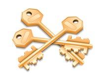 Tre chiavi dorate Fotografie Stock Libere da Diritti