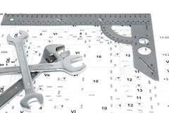 Tre chiavi e righello sull'illustrazione. Immagine Stock Libera da Diritti