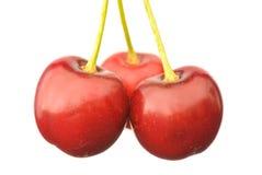 Tre ciliege rosse Immagini Stock Libere da Diritti