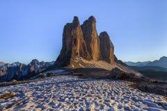 Tre Cime 阿尔卑斯白云岩意大利 库存图片
