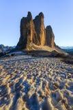 Tre Cime 阿尔卑斯白云岩意大利 库存照片