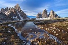 Tre Cime 阿尔卑斯白云岩意大利 图库摄影