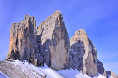 Tre cime with blue sky Royalty Free Stock Photo