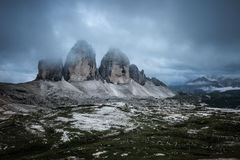 Tre Cime at cloudy evening Stock Photo