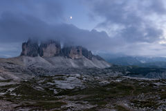 Tre Cime at cloudy evening Royalty Free Stock Photos