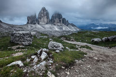 Tre Cime at cloudy evening Royalty Free Stock Photo