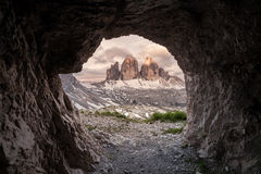 Tre Cime at cloudy morning Royalty Free Stock Photo