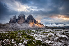 Tre Cime at cloudy sunset. Italian Dolomites Royalty Free Stock Photo