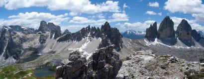Tre cime di Lavaredo和登上Paterno 免版税库存照片
