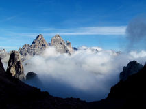 Tre Cime di Lavaredo峰顶, Dolomit阿尔卑斯山 免版税库存图片