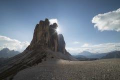 TRE cime di lavaredo白云岩在特伦托自治省 免版税库存照片