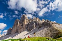 Tre Cime di Lavaredo,白云岩,意大利 免版税图库摄影