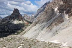 Tre Cime di Lavaredo в доломитах Стоковая Фотография