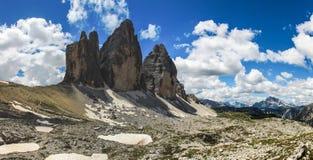 Tre Cime di Lavaredo в доломитах Стоковая Фотография RF