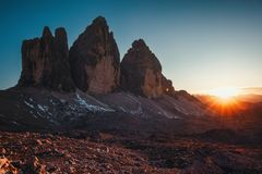 Tre Cime di Lavaredo al tramonto nelle dolomia in Italia, Europa Immagini Stock Libere da Diritti