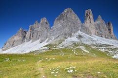 Tre Cime di Lavaredo, alpi delle dolomia, Italia Fotografie Stock
