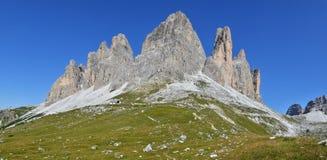 Tre Cime di Lavaredo, alpi delle dolomia in Italia Fotografia Stock