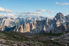 Tre Cime di Lavaredo Alpi delle dolomia L'Italia Fotografie Stock