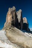 Tre Cime di Lavaredo Alpi delle dolomia L'Italia Immagini Stock