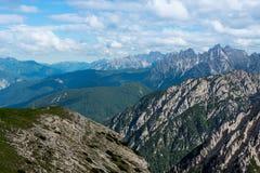 Tre Cime di Lavaredo Alpi delle dolomia L'Italia Immagine Stock