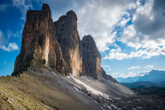 Tre Cime di Lavaredo Alpi delle dolomia L'Italia Immagini Stock Libere da Diritti